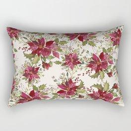 Poinsettia Pattern Rectangular Pillow