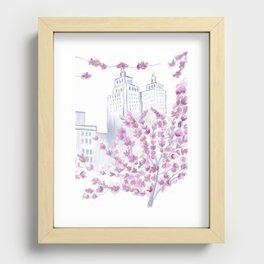 Cherry Blossom Tree Spring in New York City NYC Gathering of Lines Recessed Framed Print
