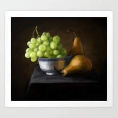 Grapes and pears Art Print