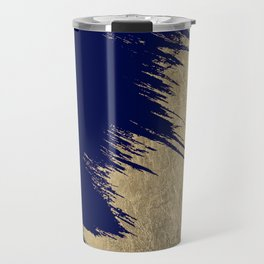 Navy blue abstract faux gold brushstrokes Travel Mug