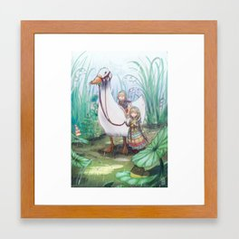 Gnomes in the Rain Framed Art Print