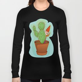 fairytale dwarf with cactus Long Sleeve T-shirt