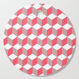 Diamond Repeating Pattern In Poppy and Soft Grey Cutting Board