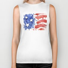 American Flag Watercolor Abstract Stars and Stripes Biker Tank
