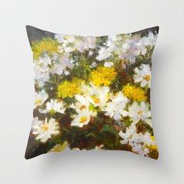 Daisies, Hydrangea and Yarrow Flowers Throw Pillow