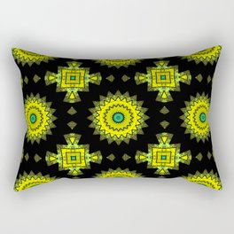 Black and yellow round ornament 1 . Rectangular Pillow