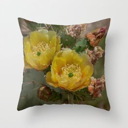 Yellow Cacti Blossoms Throw Pillow