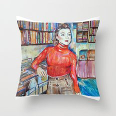 Russian Red, Singer, painting, illustration, art pop Throw Pillow