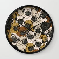 dogs Wall Clocks featuring Social Pugz by Huebucket