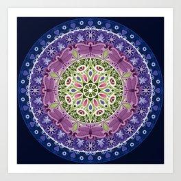 Colourful Dragonfly Mandala Art Print