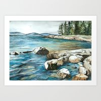 maine Art Prints featuring Maine by Micaela Payne
