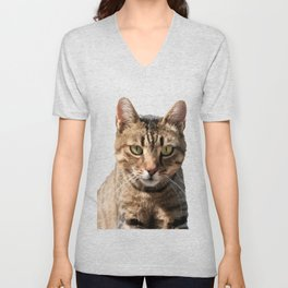 Portrait Of A Cute Tabby Cat With Direct Eye Contact Isolated Unisex V-Neck