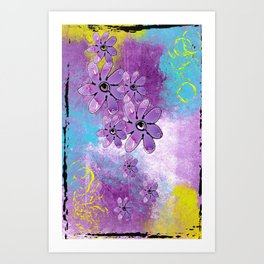 Purple Abstract with Flowers Art Print