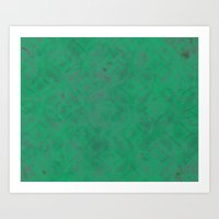 Geometric Greens Art Print