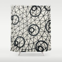 Black and White Circular Pattern Abstract Geometric Art Print Photograph Shower Curtain