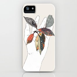 Colored leaves in hand iPhone Case