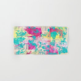 Abstract Mixed Media - Neon Hand & Bath Towel