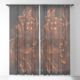 Gold Sagittarius Sheer Curtain