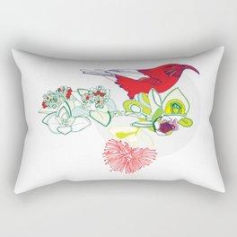 Red Ohia Lehua and Iwi Bird Rectangular Pillow