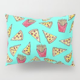 Pepperoni Pizza French Fries Foodie Watercolor Pattern Pillow Sham