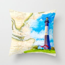 Tybee Island Lighthouse - Vintage Nautical Map Collage Throw Pillow
