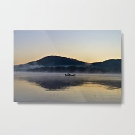 Fishing in the Morning Mist Metal Print