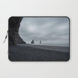 Moody dark weather at Reynisdrangar black beach near Vík   Iceland travel photography Laptop Sleeve