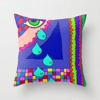 blankets Throw Pillows featuring Abstract 34 by Linda Tomei