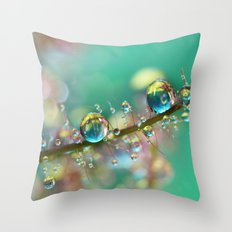 Smokey Rainbow Drops Throw Pillow