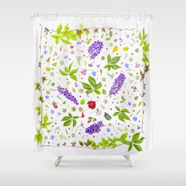 Leaves and flowers pattern (33) Shower Curtain
