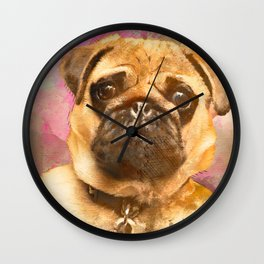 Pug Painting, Watercolor Pug, Pug Art, Pug Print, Dog Pug, Animal, Mixed Media, Love Pug, Decor Wall Clock