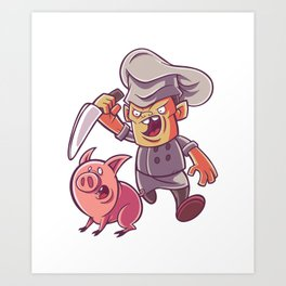 Chef with knife and pig Art Print