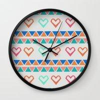 knit Wall Clocks featuring Heart Knit  by minniemorrisart