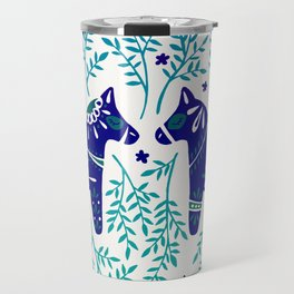 Swedish Dala Horses – Navy & Blue Palette Travel Mug