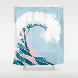 Surf X // Cali Beach Summer Surfing Rip Curl Gold Pink Aqua Abstract Ocean Wave Shower Curtain