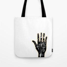 Black palmistry hand Tote Bag