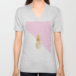 Pink white colorblock gold geometrical pineapple Unisex V-Neck