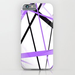 Criss Crossed Lilac and Black Stripes on White iPhone Case