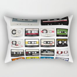 Collection of Retro Audio Cassette Tapes Rectangular Pillow