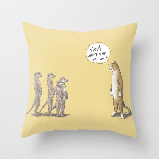 Cat & Meerkats Throw Pillow