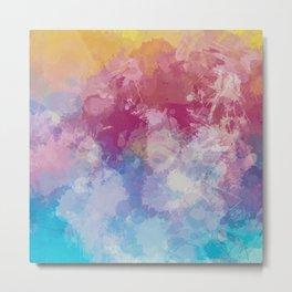 Bright Pastel Paint Splash Abstract Metal Print