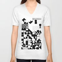 grid V-neck T-shirts featuring GRID by Matt Scobey