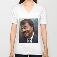 neil gaiman V-neck T-shirts featuring Neil Degrasse Tyson Caricature by Jared Hobson