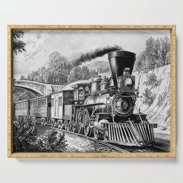 The Express Train: Currier & Ives 1870 Serving Tray