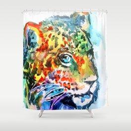 Rainbow Jaguar on the Prowl Shower Curtain