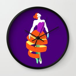 Orange peel ballerina dance Wall Clock