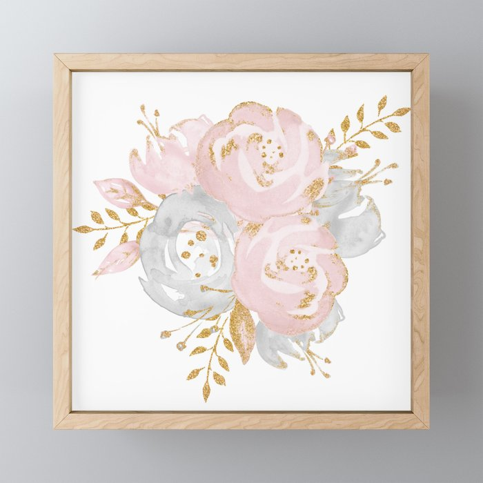 Roses Gold Glitter Pink by Nature Magick Framed Mini Art Print