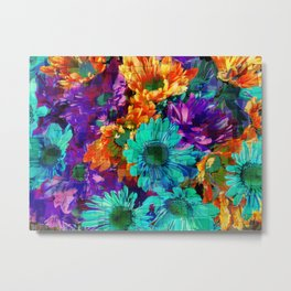 Colored Daisies Metal Print