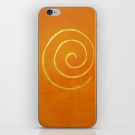 Infinity Bright Orange With Gold Abstract Modern Art Painting iPhone Skin