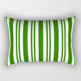 Green and white vertical stripes Rectangular Pillow